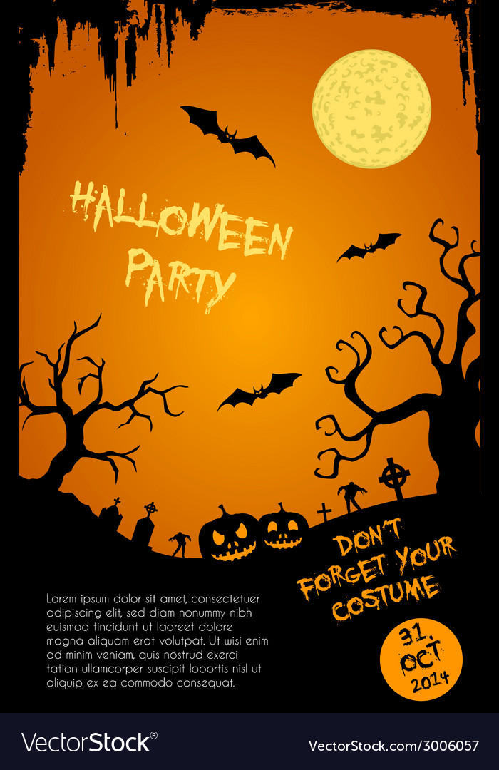 halloween party flyer template orange and black vector image