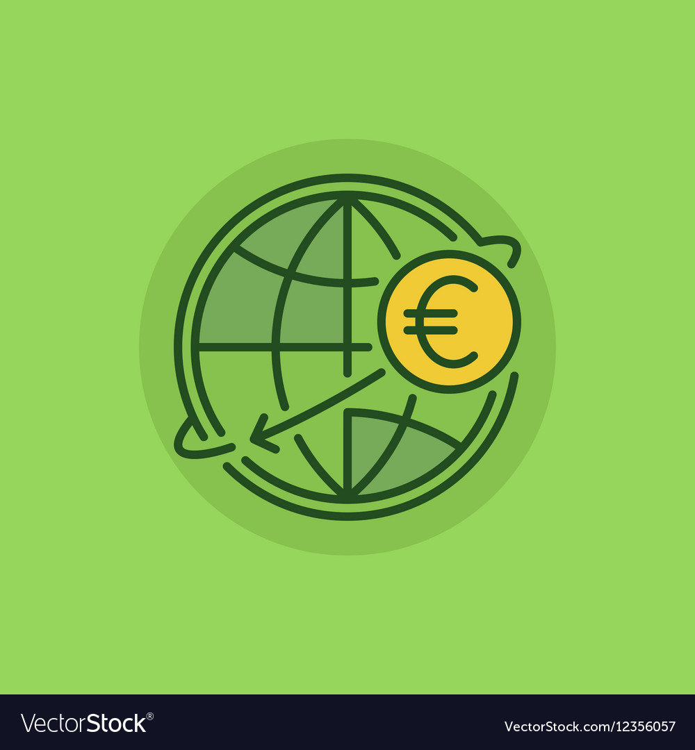 International money transfer green icon vector image