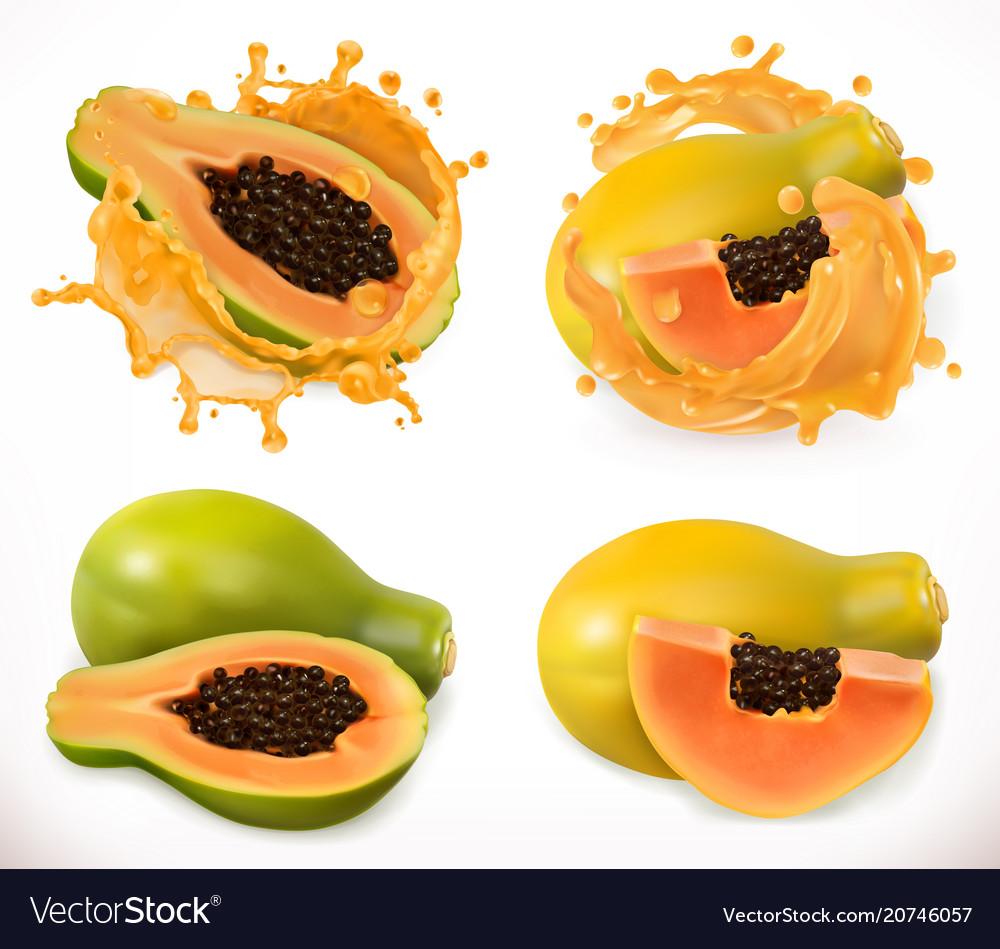 Papaya juice fresh fruit 3d icon set