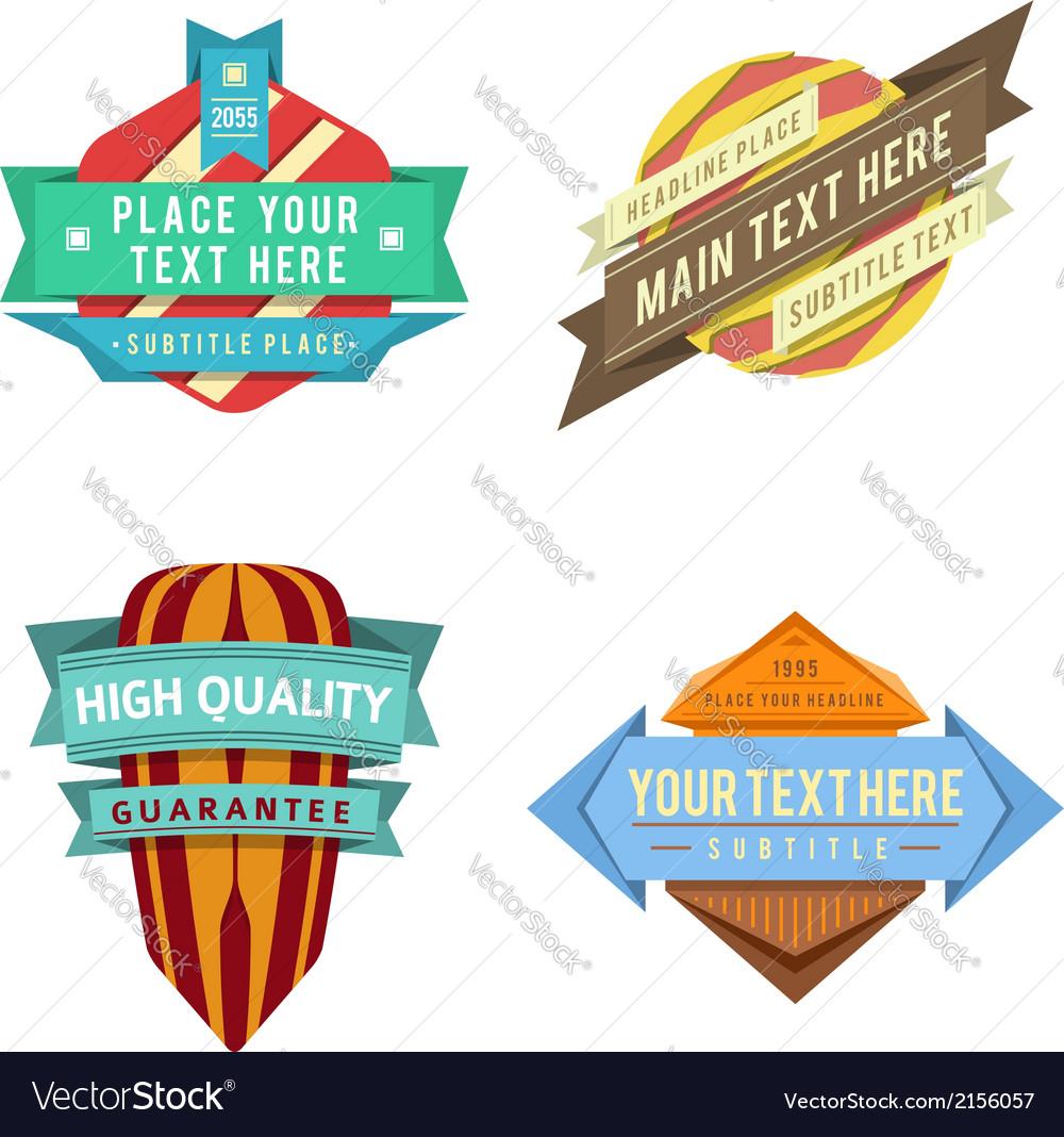 Set of logo retro ribbon labels and futuris vector image
