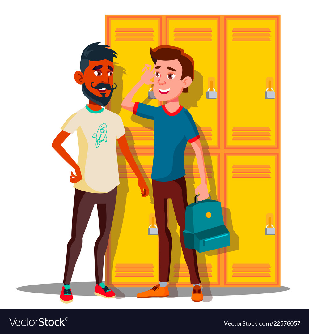Teenagers near lockers in college isolated