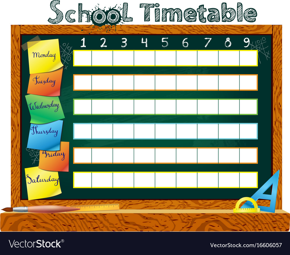 Template school timetable 2016-2017 royalty free vector.