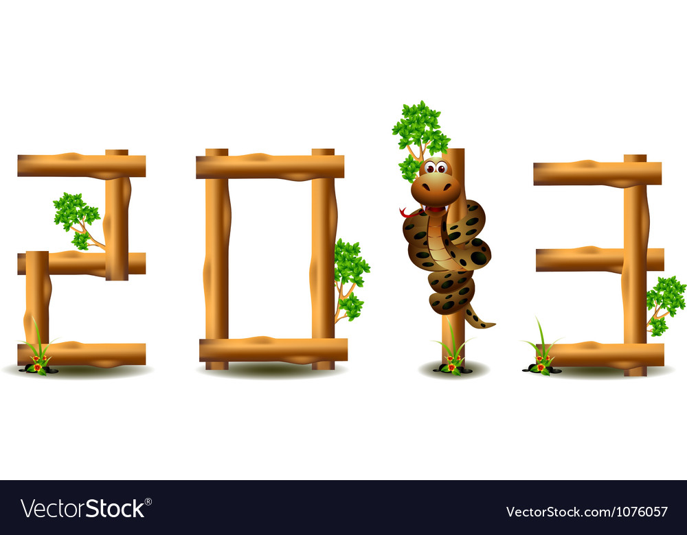 Year of the snake and wood concept