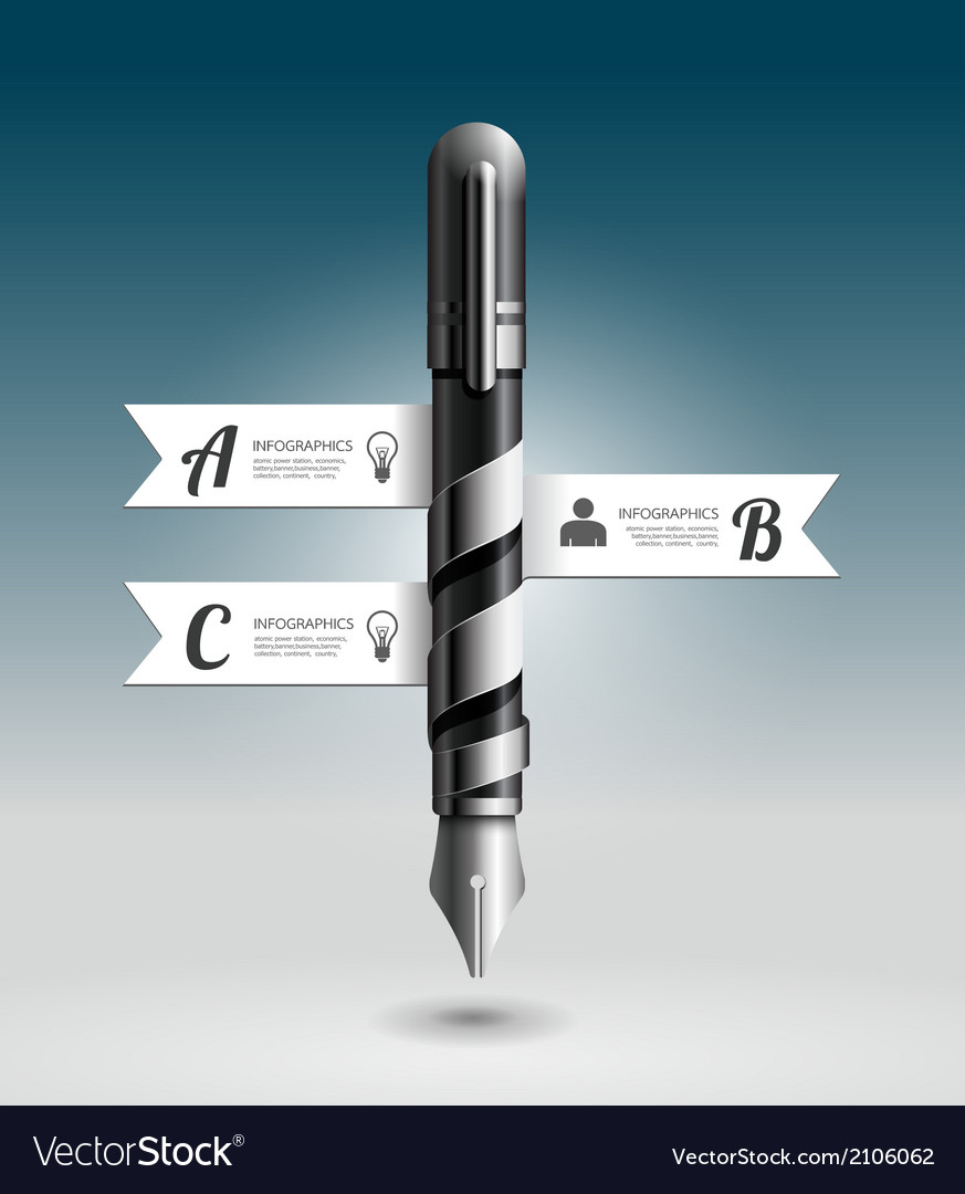 Abstract 3d Ink Pen Infographic Design