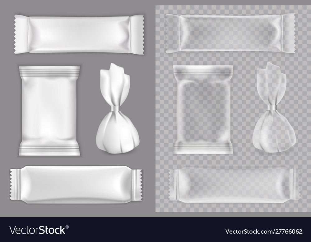 Candy packaging mockup set isolated