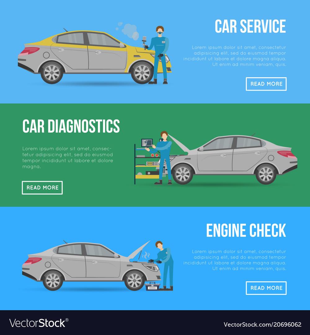 Car diagnostics and repair services flyers