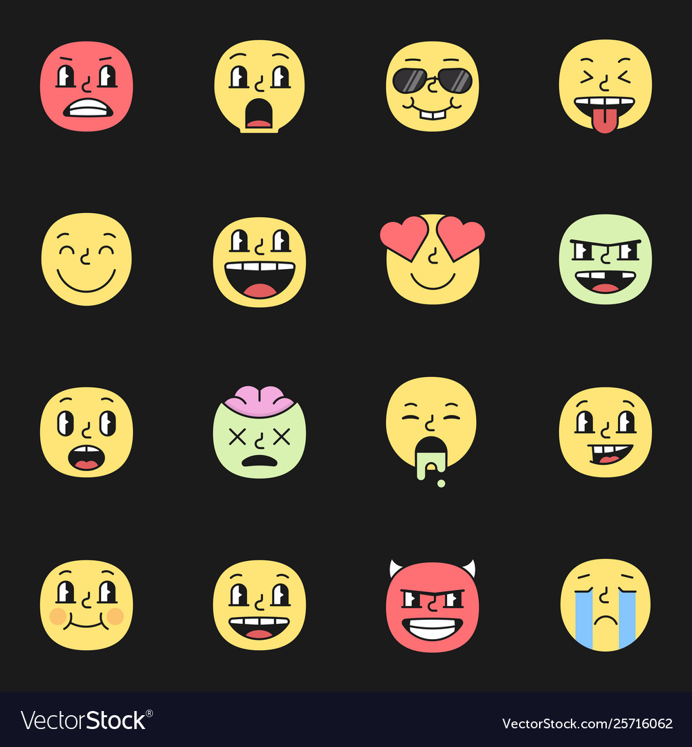 Cute smile emoji pack elements eps10