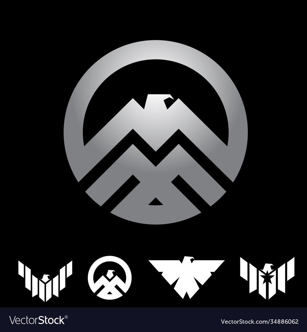 Eagle insignia symbol concept set