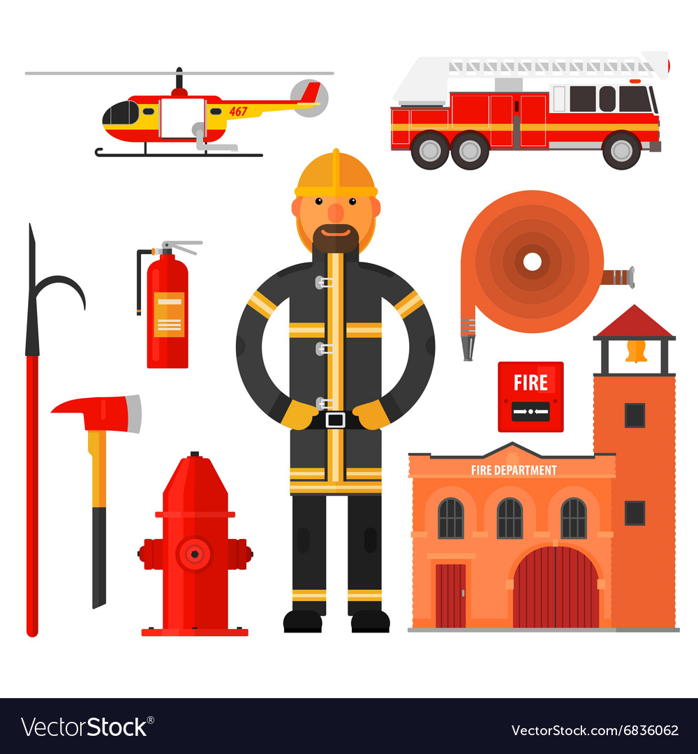 Firefighting character Flat style Elements for