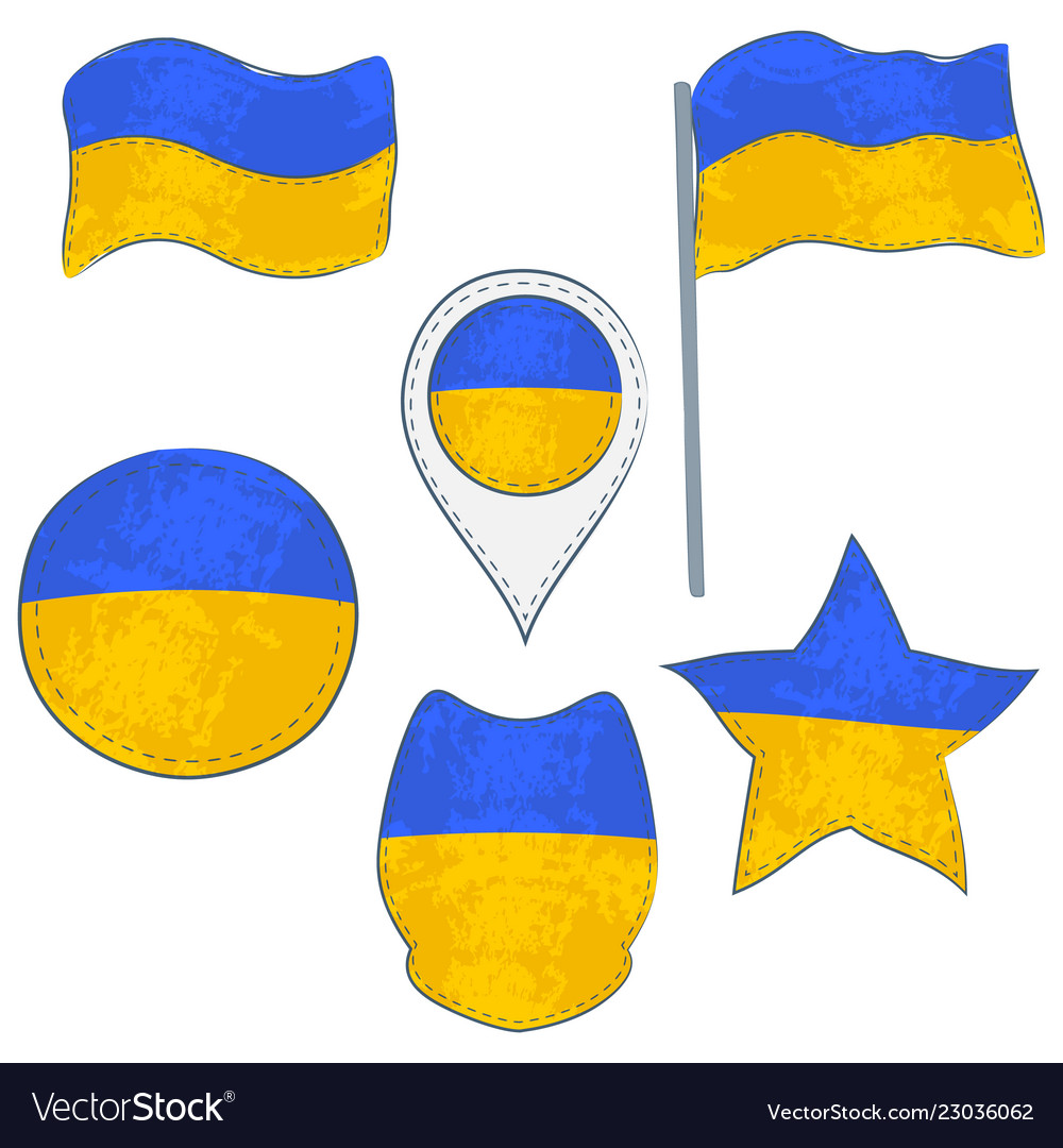 Flag of the ukraine performed in defferent shapes