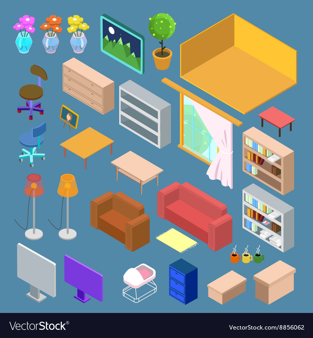 Merveilleux Isometric Furniture Isometric Living Room Planning Vector Image