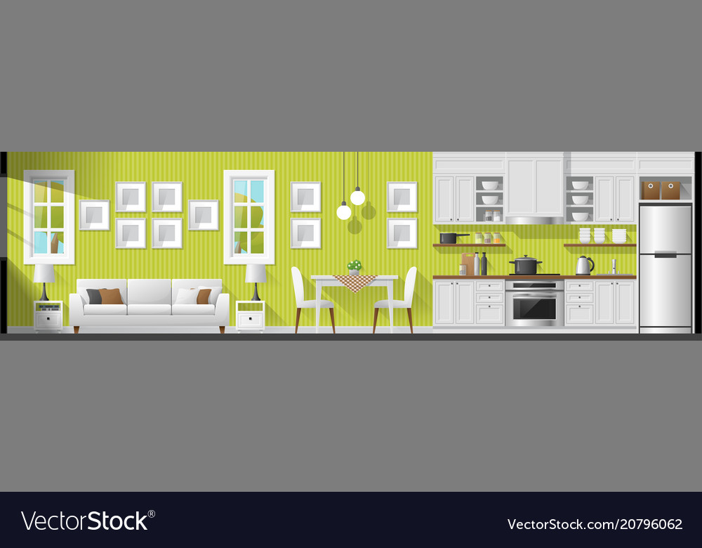 Living room dining room and kitchen background vector image