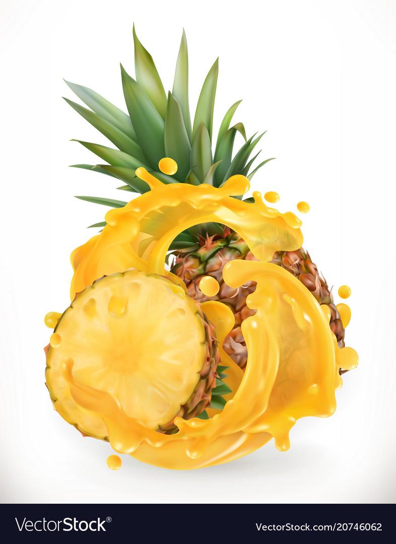 Pineapple juice fresh fruit 3d realism icon