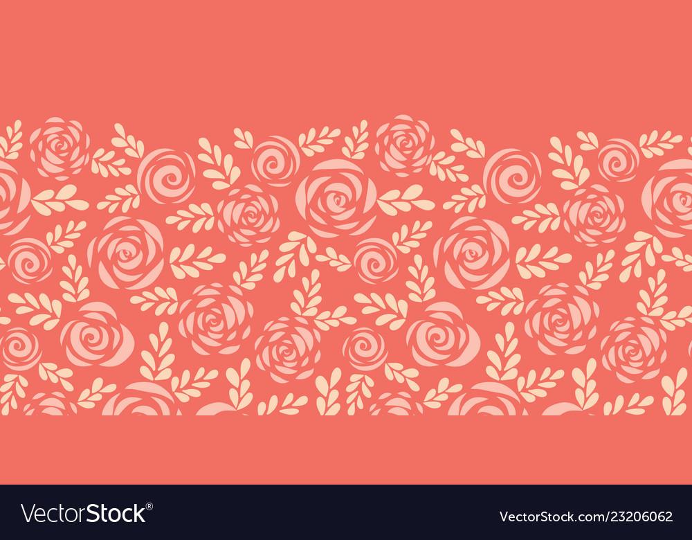 Scandinavian flat roses seamless border red