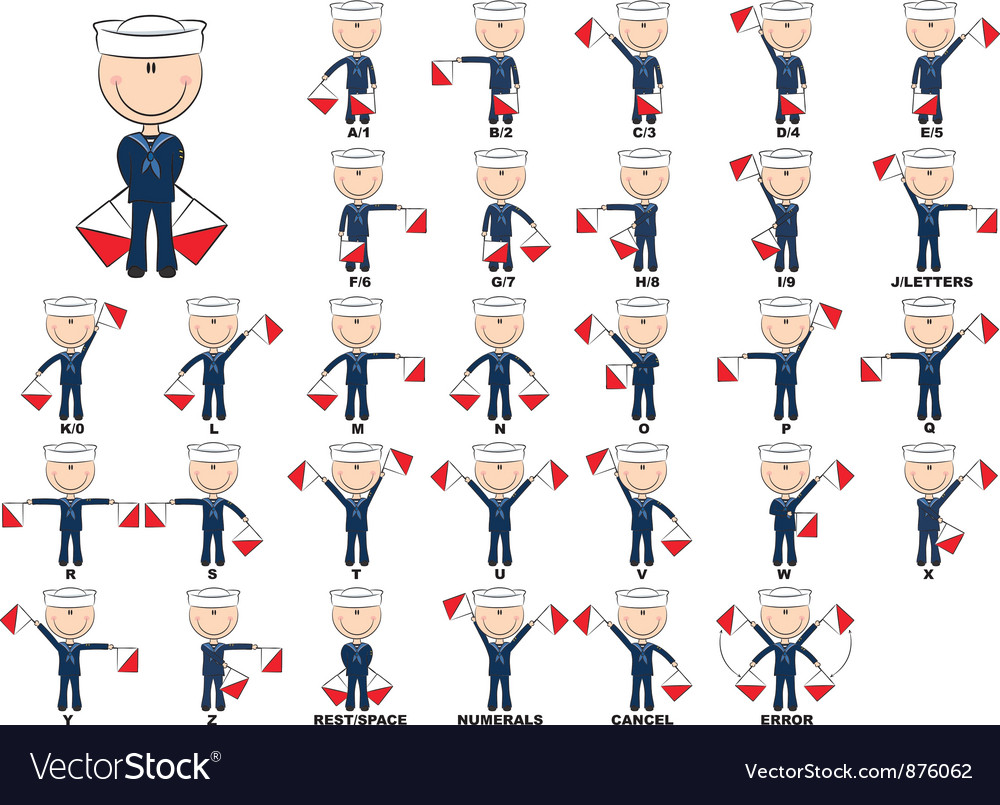 Semaphore flag system vector image