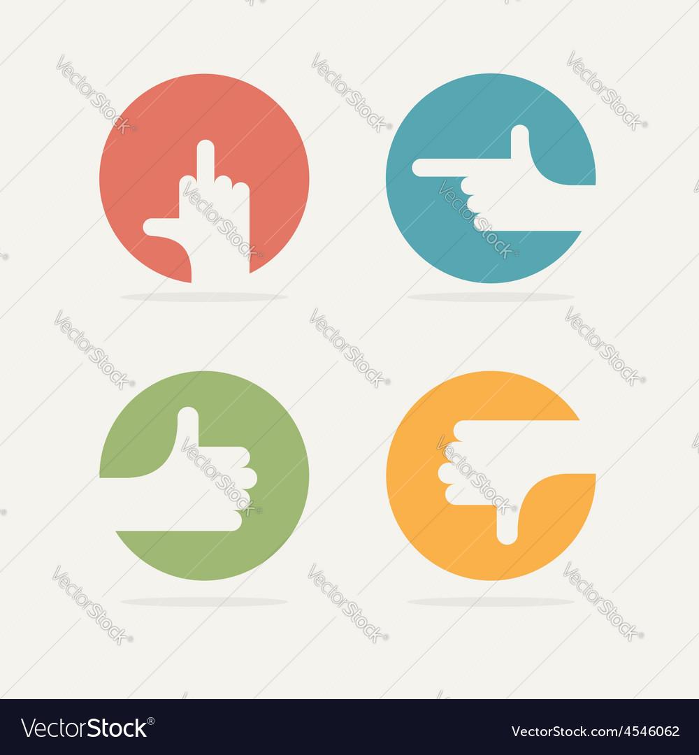 Set Icon hand gestures good bad left