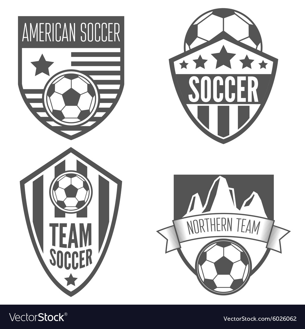 Set of vintage soccer football labels emblem and