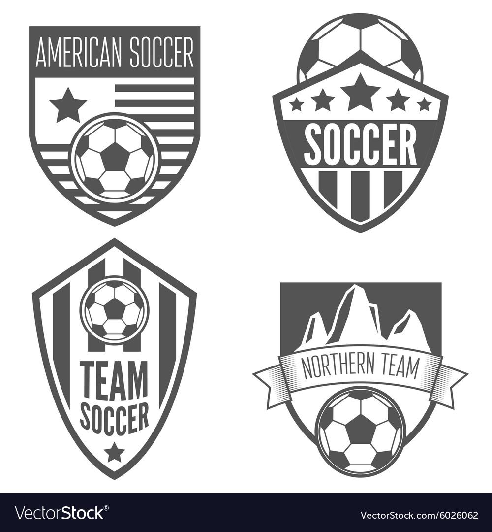 Set vintage soccer football labels emblem and