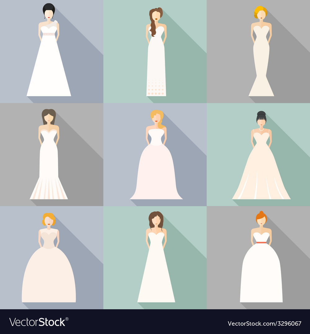 Brids In Wedding Dresses Royalty Free Vector Image
