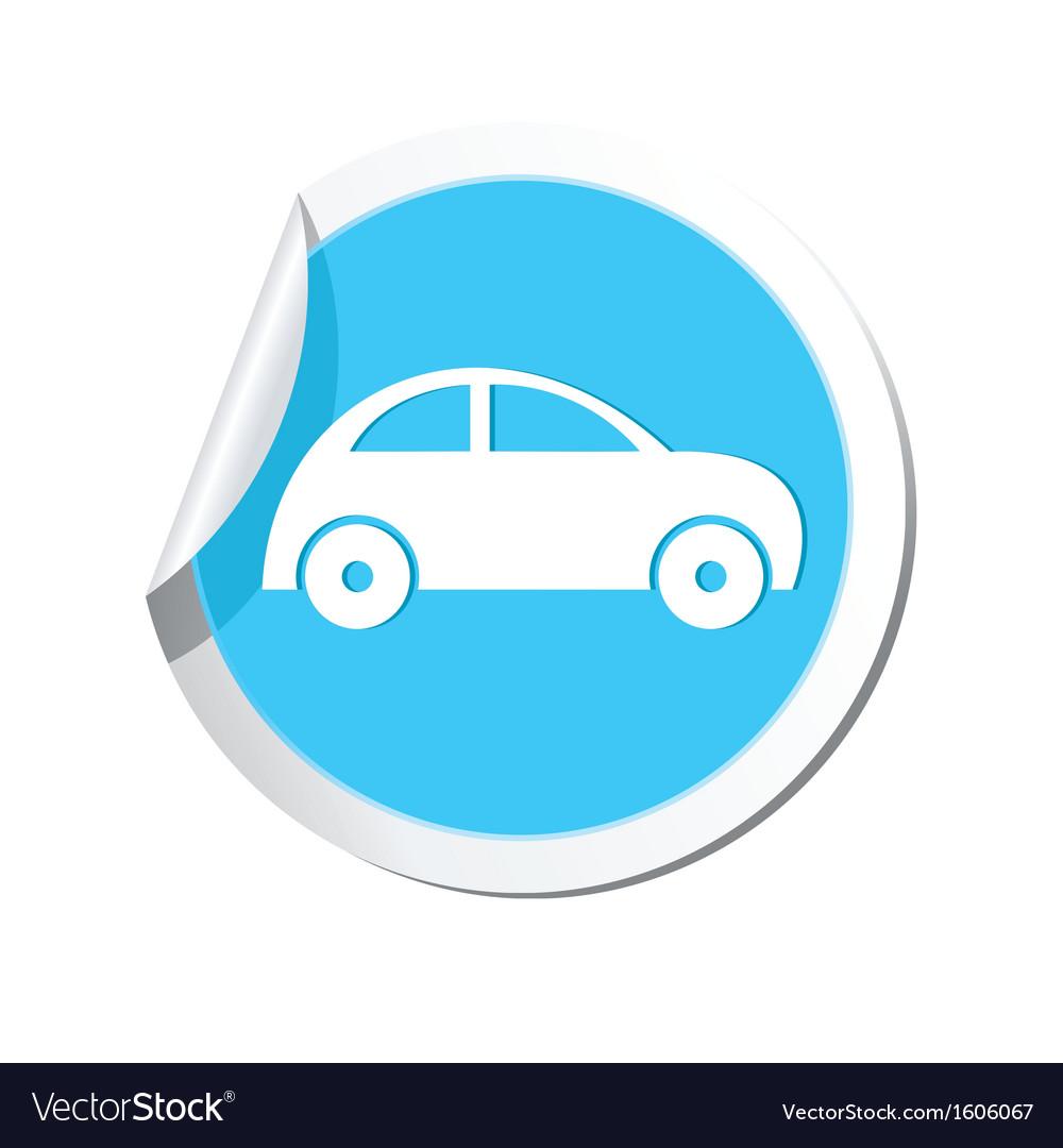 Car icon round blue