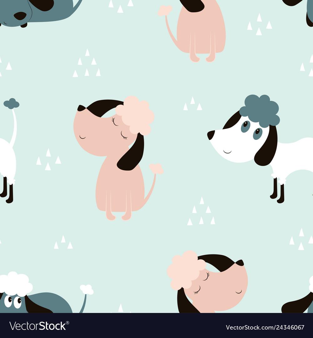 Childish seamless pattern with dogs