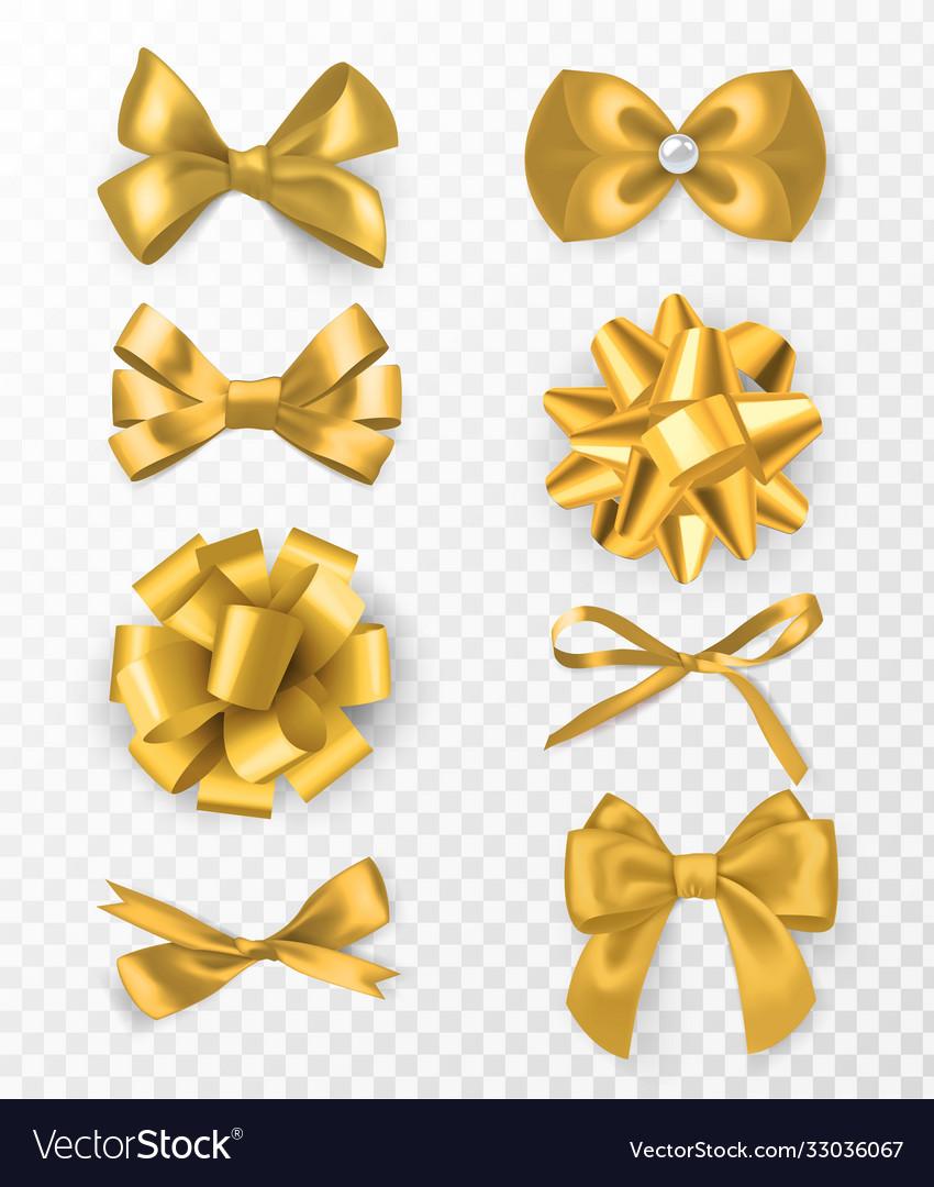 Gold decorative bows 3d silk ribbon