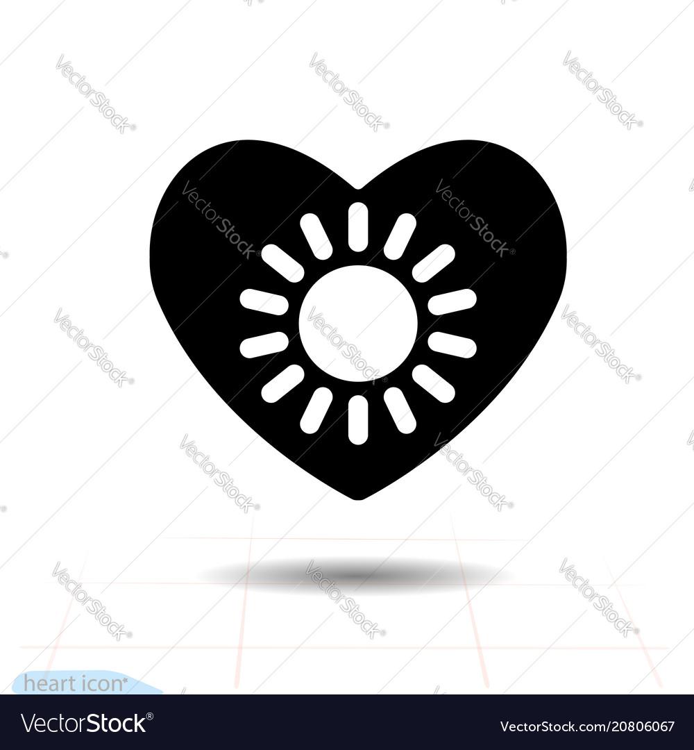 Heart black icon love symbol the sun in