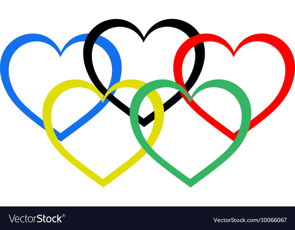heart shaped olympic rings royalty free vector image rh vectorstock com olympic rings vector ai olympic rings vector logo