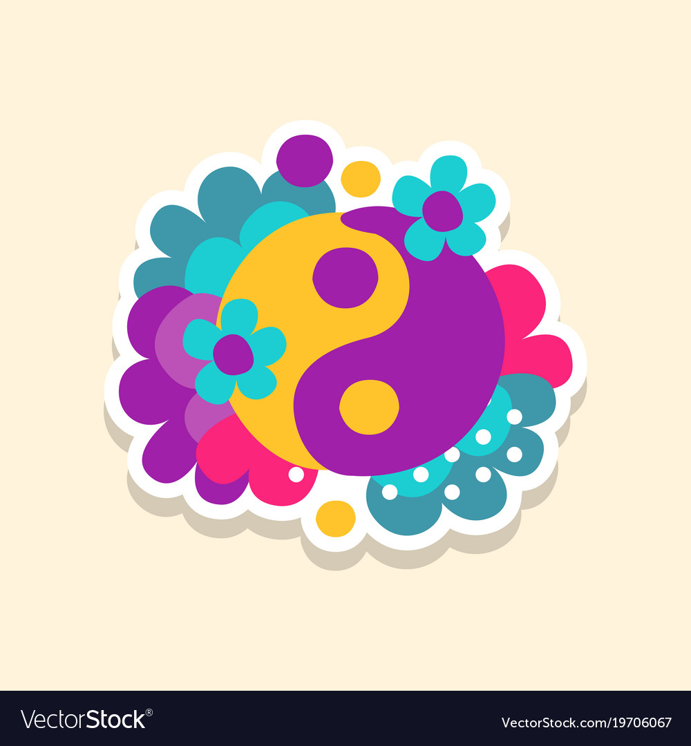 Hippie yin and yang symbol with flowers cute