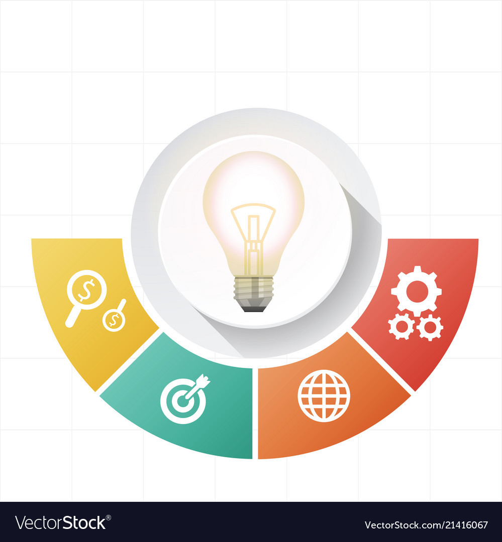 Infographic bulb semicircle design four template v
