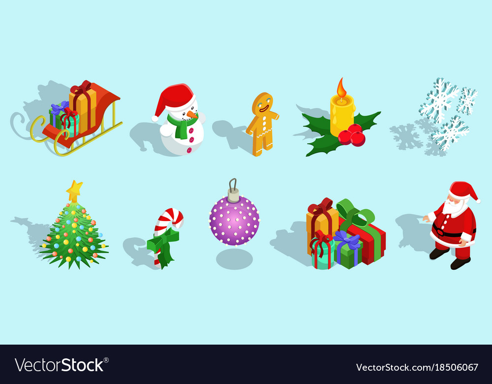Isometric christmas icons set