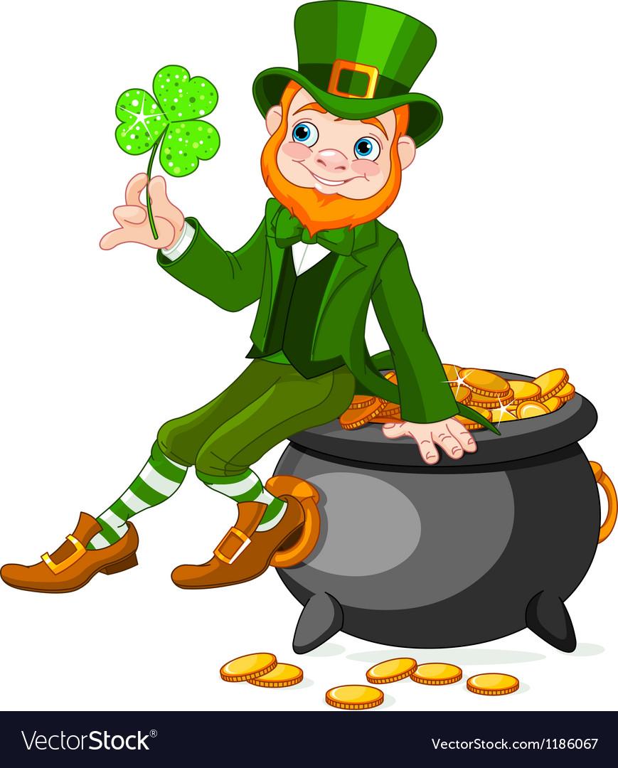 leprechaun sitting on pot of gold royalty free vector image