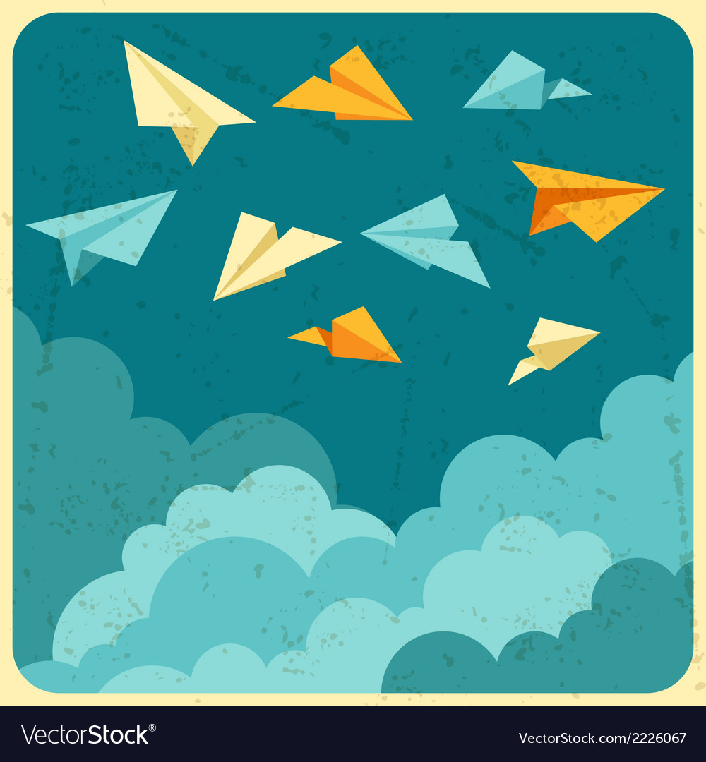 Paper planes on the sky with clouds
