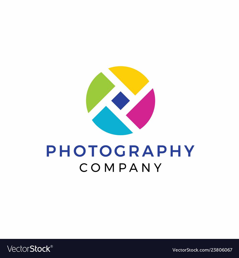 Rainbow Photography Logo Design Royalty Free Vector Image