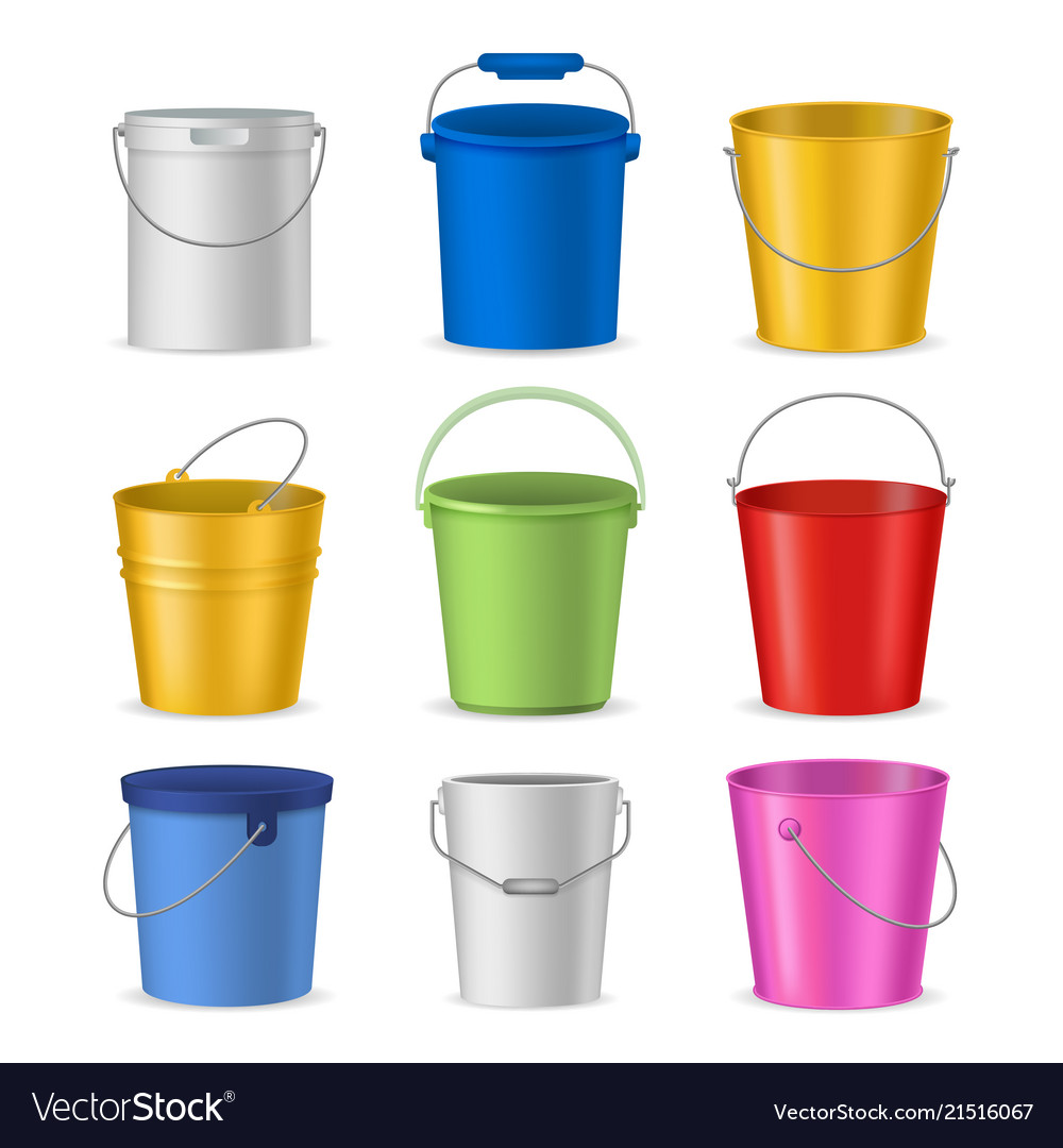 Realistic Detailed Color Buckets Set Vector Image