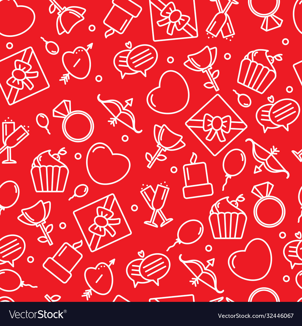 Seamless pattern with heart and other signs