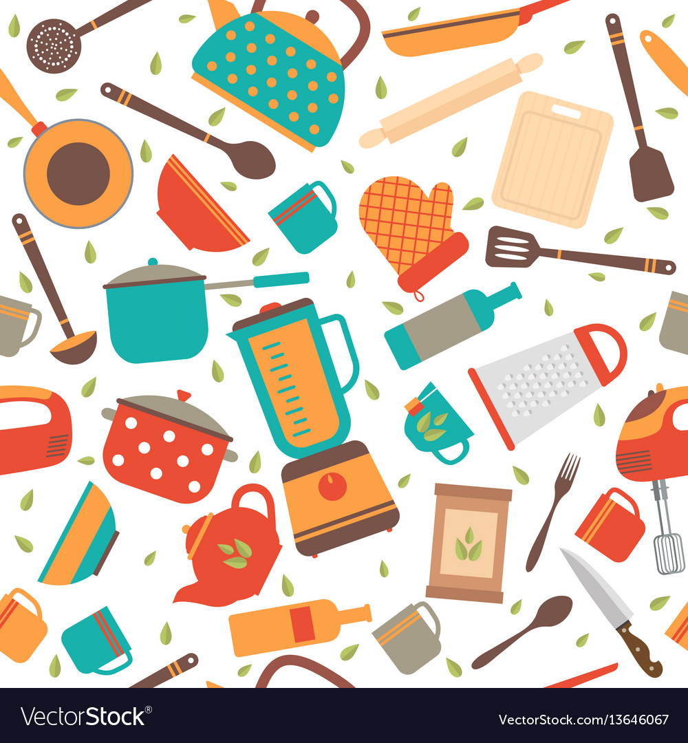Seamless pattern with kitchen tools cooking