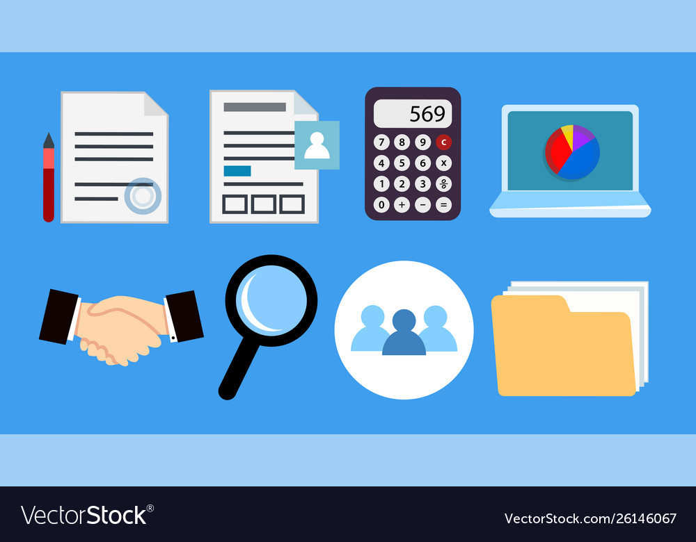 Set accounting business icons for office