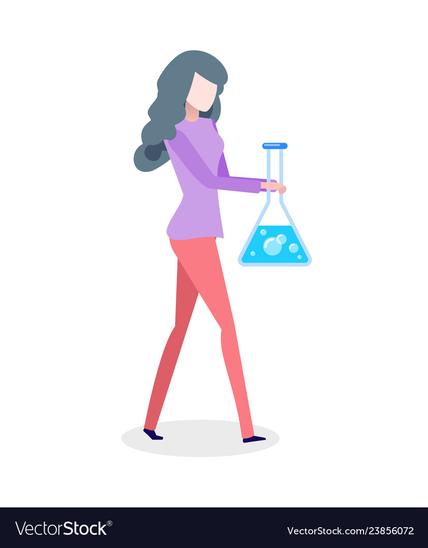 Chemist woman holding bolb with blue liquid