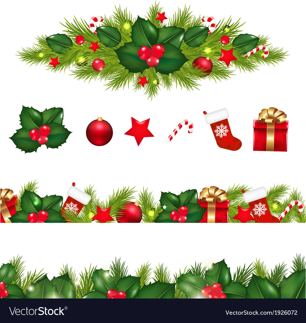 christmas borders set with xmas garland vector image - How To Decorate A Christmas Garland