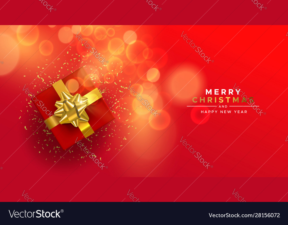 Christmas new year red gold top view gift box card