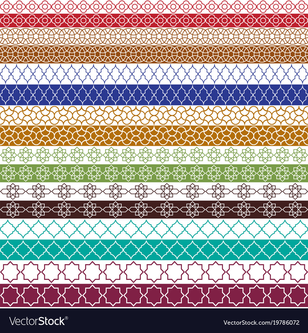 Colorful moroccan border patterns