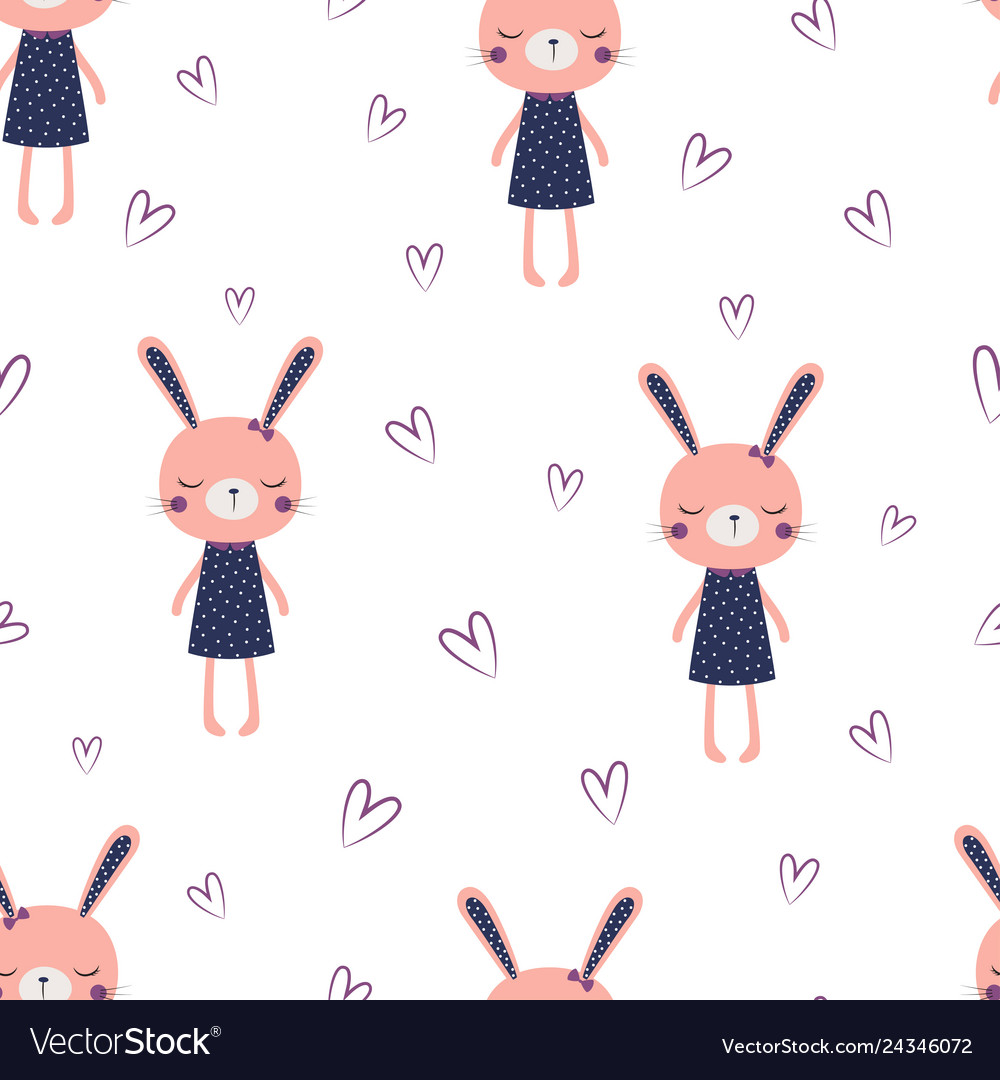 Cute bunny girl pattern vector