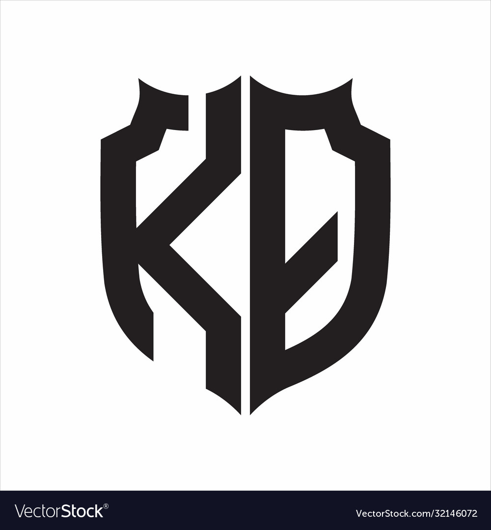 Kq Logo Shield Style Monogram Design Template On Vector Image