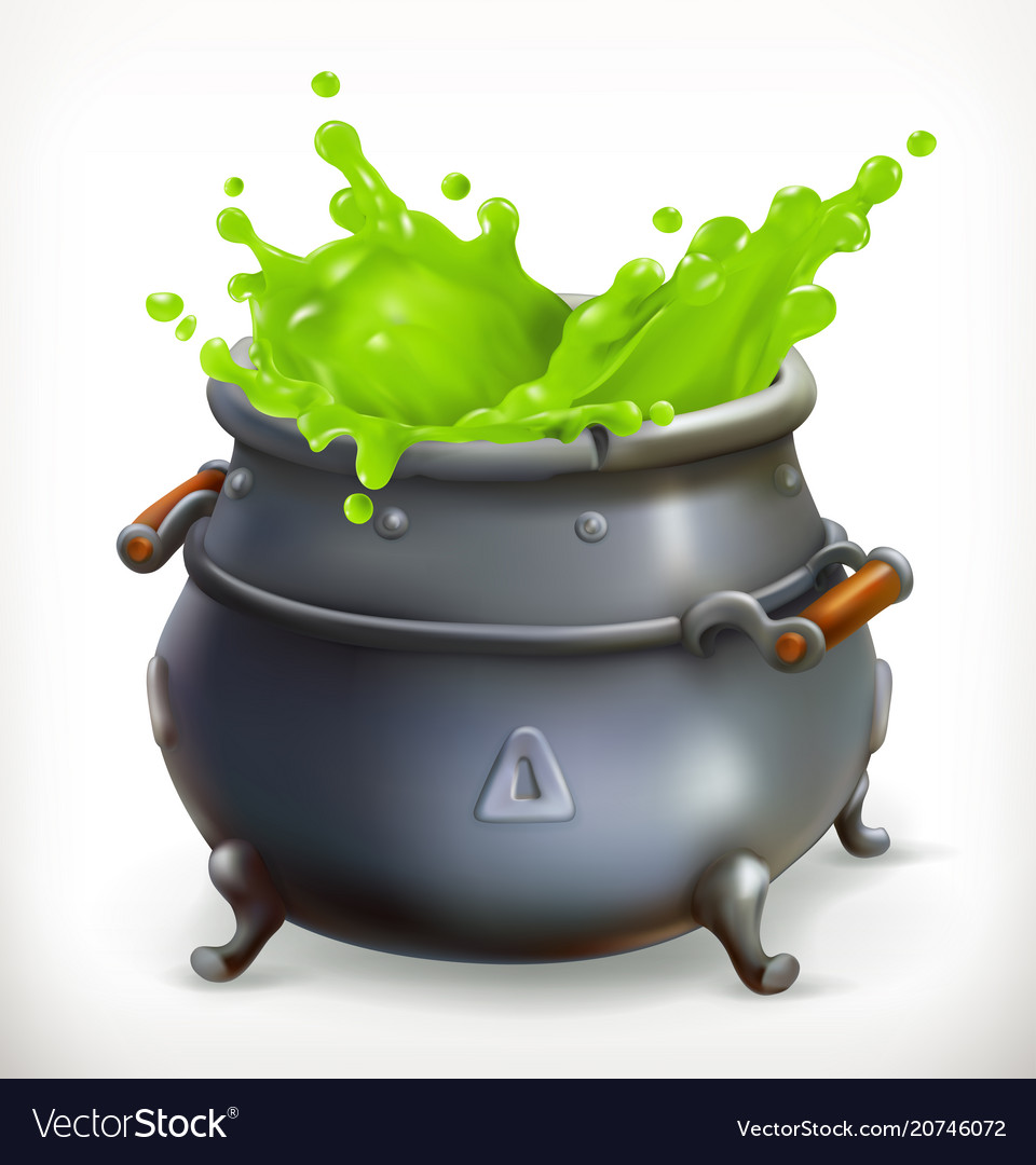 Pot witch kitchen happy halloween 3d icon