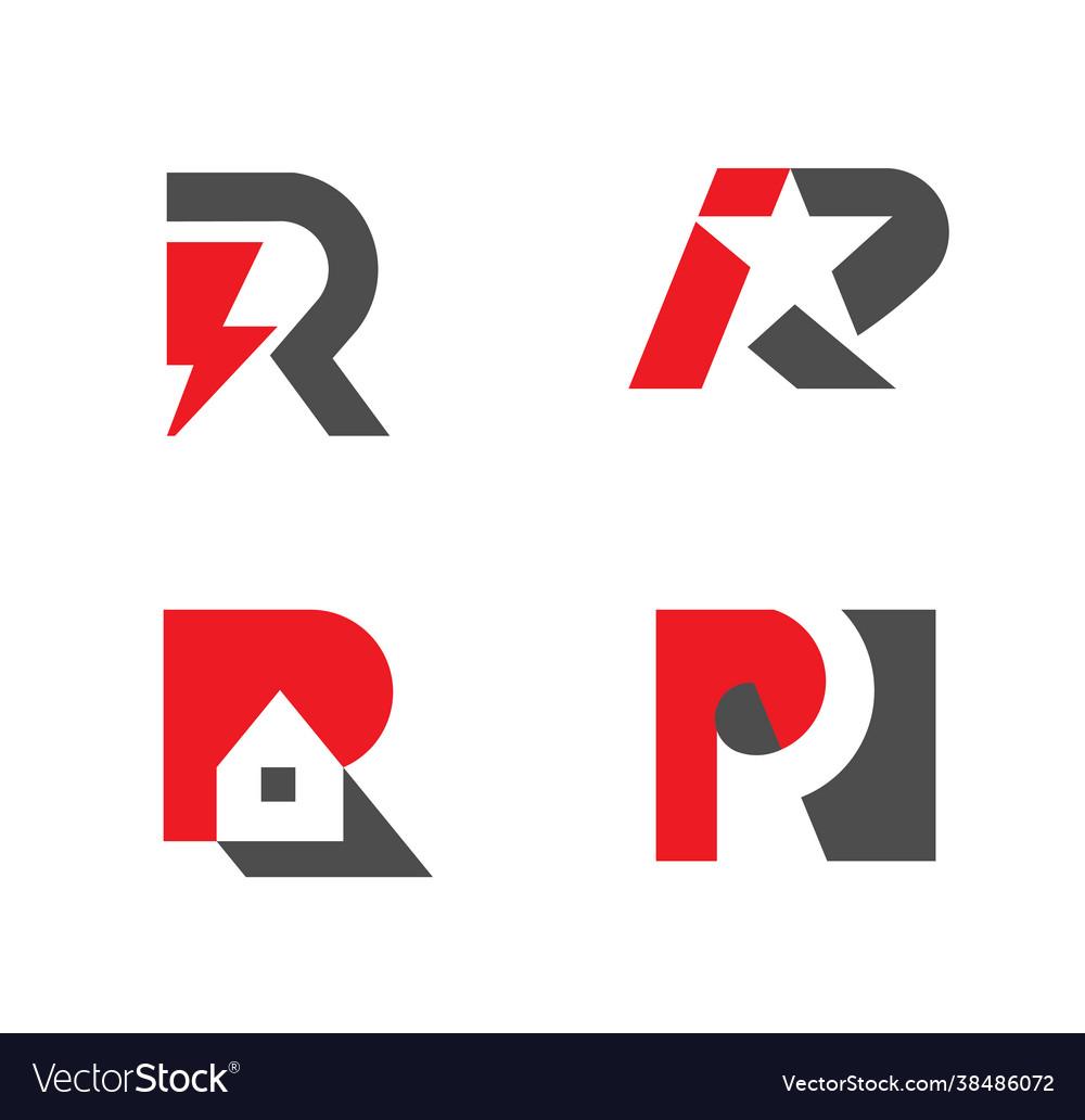 Set letter r logo design collection