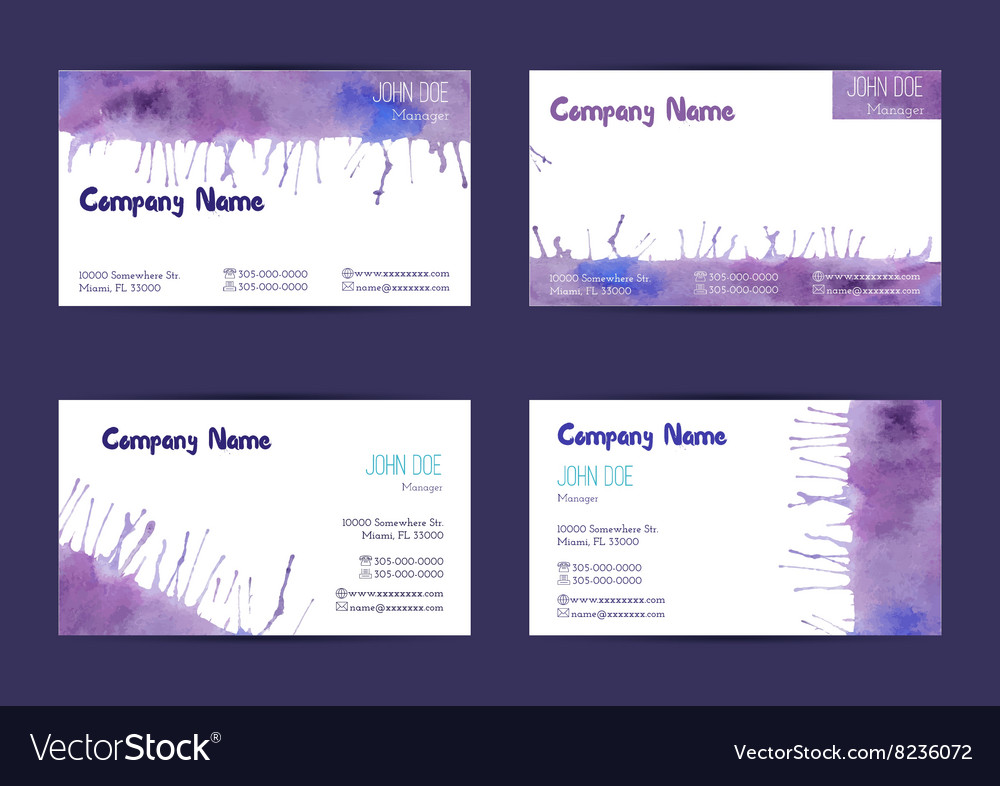 Set of watercolor business cards Royalty Free Vector Image