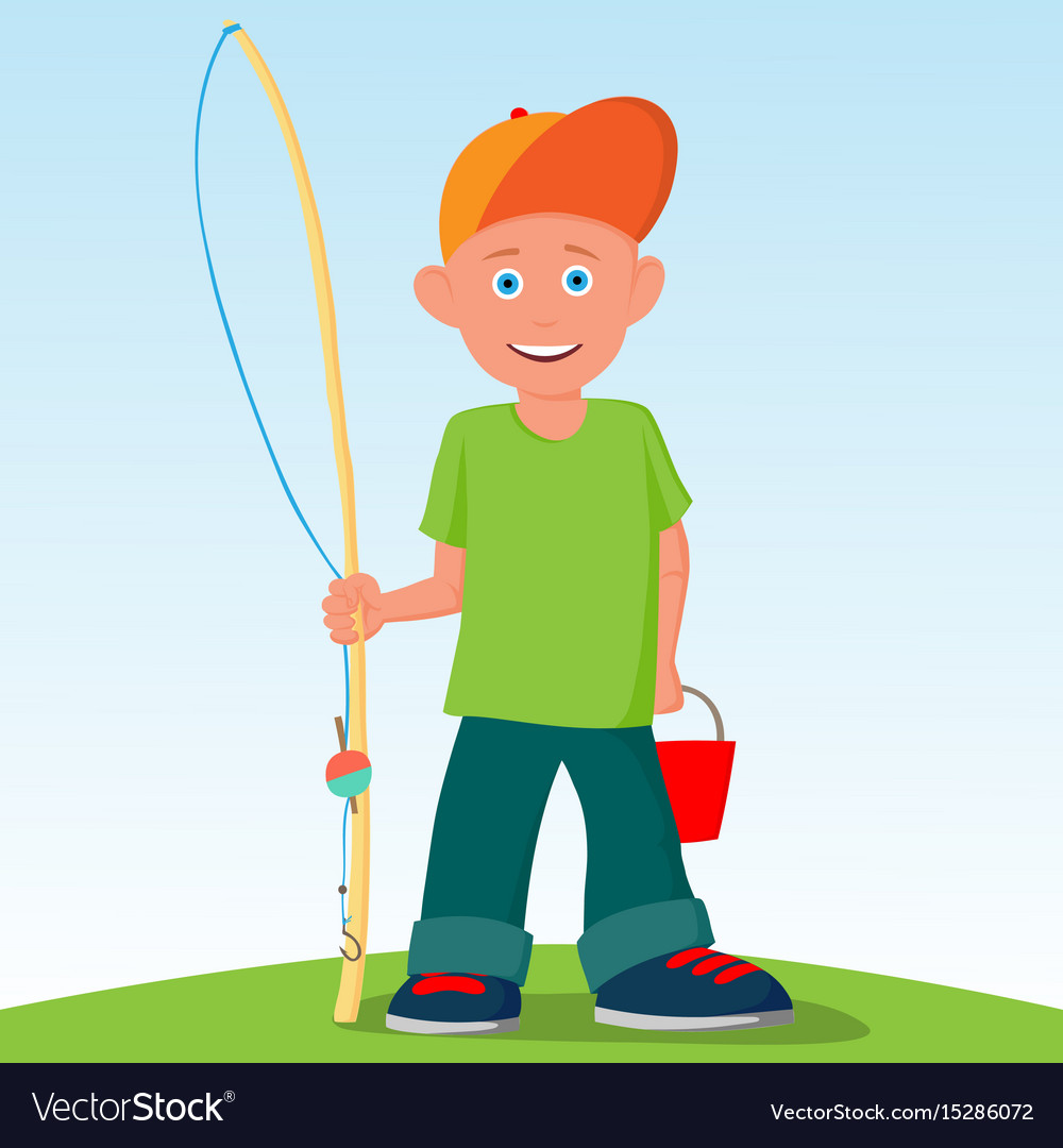 The little boy was going to fish summer active vector image