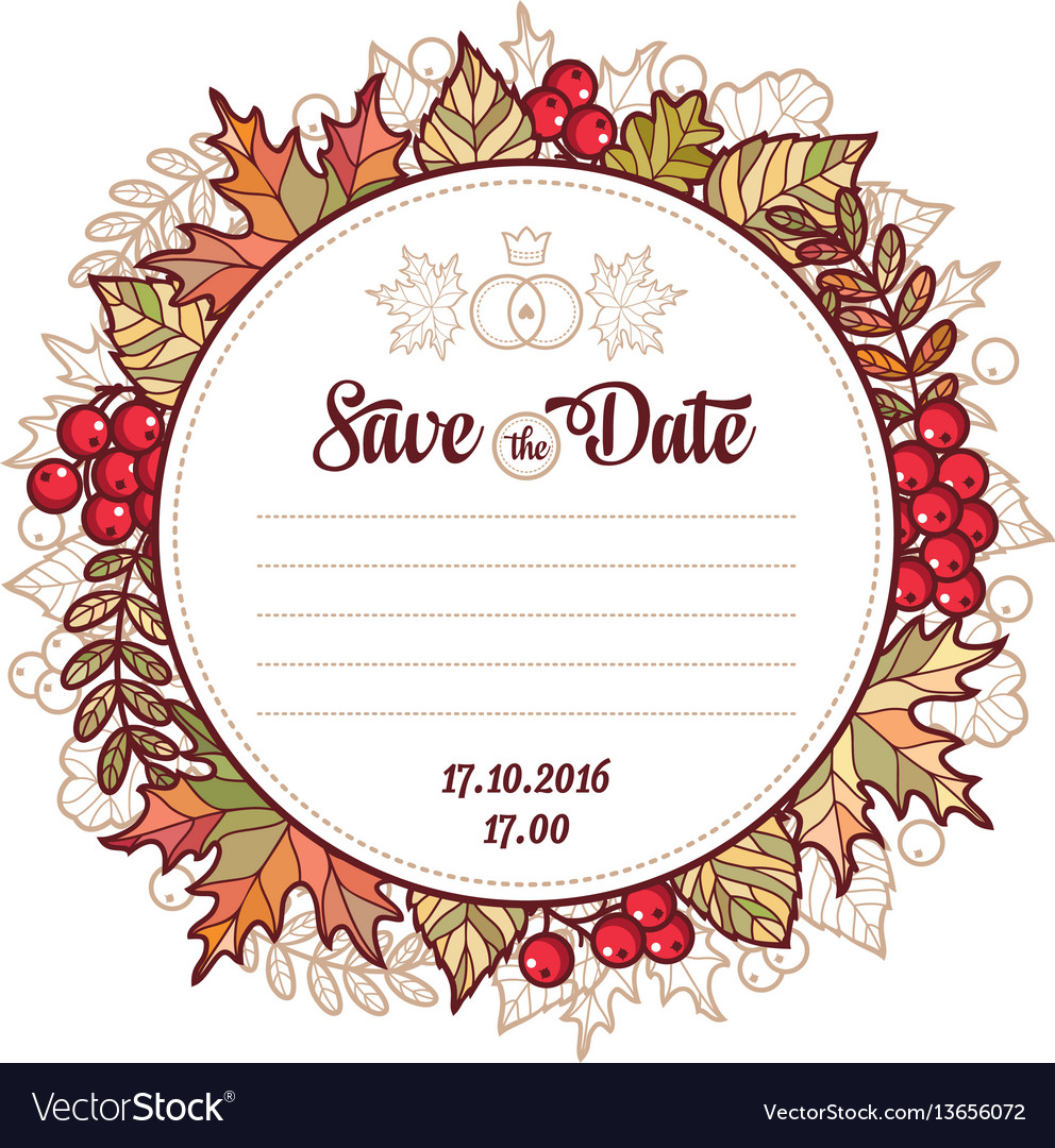 Wedding card template autumn background invitation wedding card template autumn background invitation vector image stopboris Images