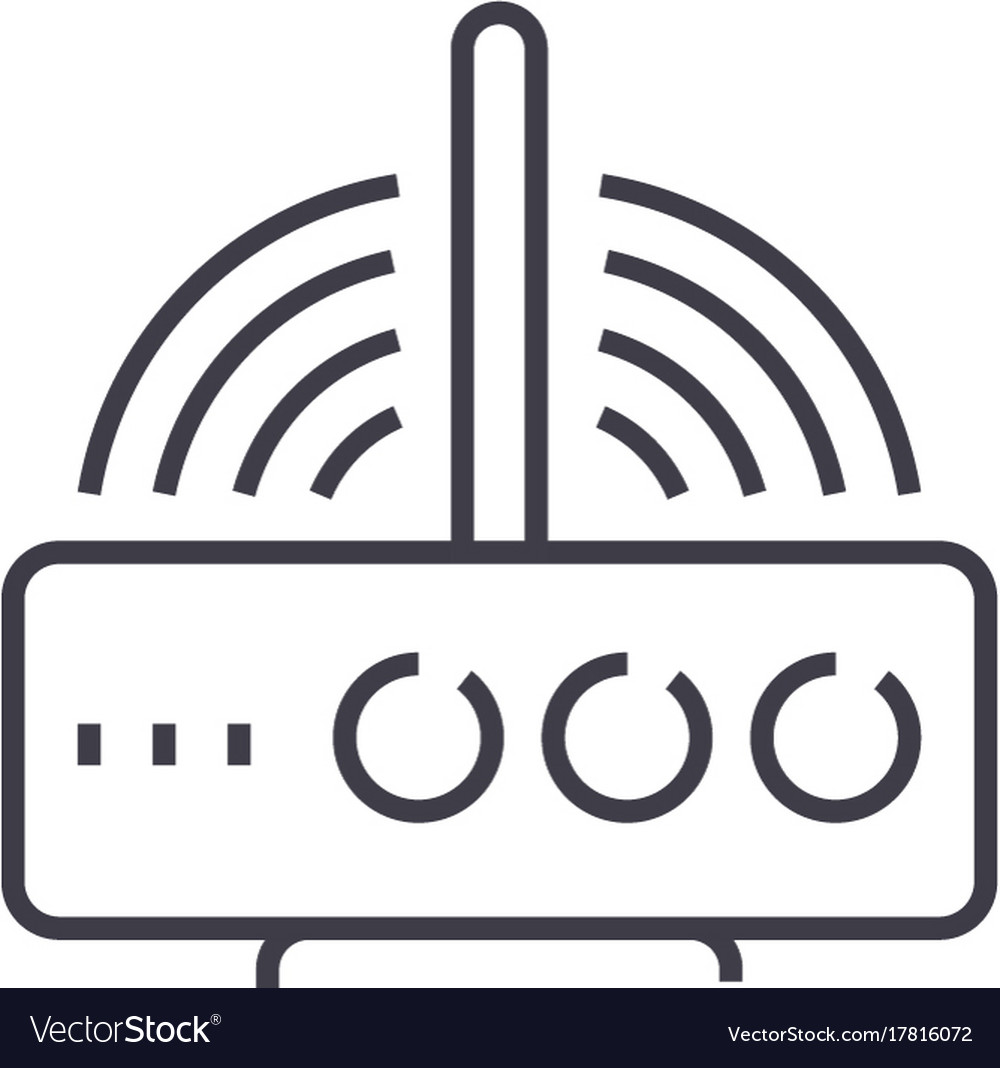 Wireless router line icon sig
